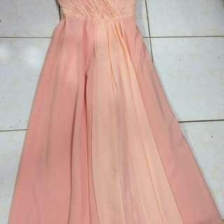 Peach Bridesmaid Gown