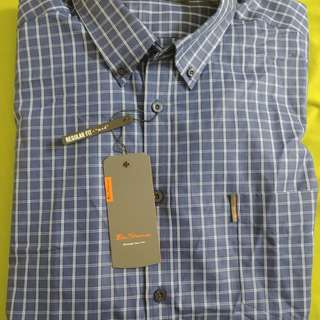 New Ben Sherman Shirt dark blue square pattern