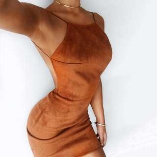 (BN) Open Back Suede Dress