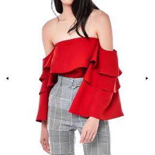 TEM: Zaydie Tiered Sleeve Off Shoulder Top