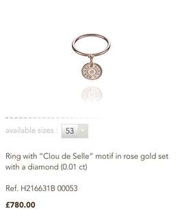 💜Hermes 玫瑰金鑽石戒指, 平!