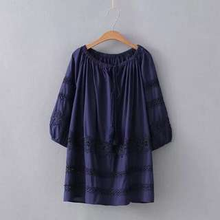2018 Spring hollow stitching suede cotton doll shirt