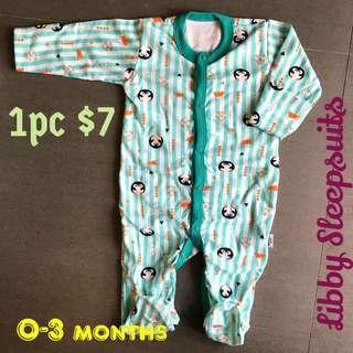 0-3m Libby Sleepsuits Pyjamas Infant Baby Onesie