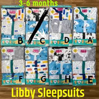 3-6m Libby Sleepsuits Pyjamas infant