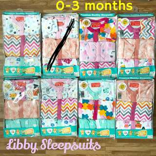 0-3m Libby Sleepsuits Pyjamas Baby infant