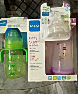 MAM Anti Colic Milk Bottle & Sippy Bottle & Teat X