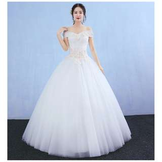 EWG18003 OFF THE SHOULDER FLOWERS LACE PRINCESS WEDDING GOWN