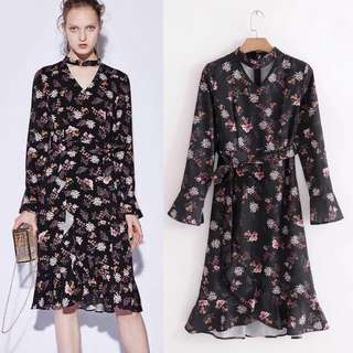 Spring new European and American models printed long-sleeved lace dress