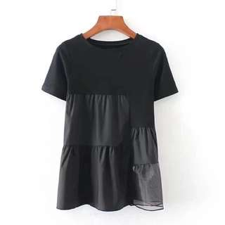 (More cols) Gonzo sheer panel detail cotton top / Tee