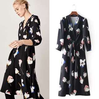 Europe and America knot design floral print dress