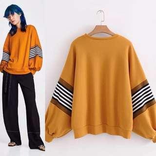 Plus Size Spring New Stripe Turtleneck Sweatshirt Sweatshirt