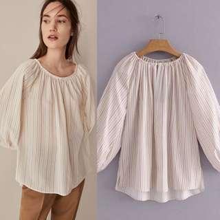 European fold design striped long sleeve shirt