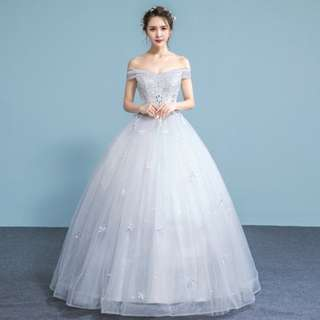 EWG18009 OFF THE SHOULDER SEQUINS BEADS WEDDING BALL GOWN  Fabric : Lace, Tulle, Beads, Sequins Neckline : Off the shoulder Color :  White Size: S, M, L, XL, 2XL Back Details :  Lace up tie back