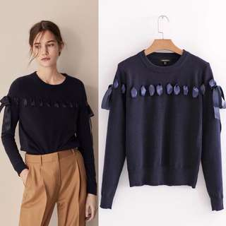 European spring new knot design knitted pullover l