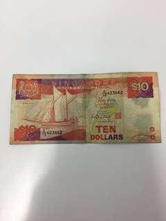 Singapore Ship Series $10 Dollars Banknote Paper HTT