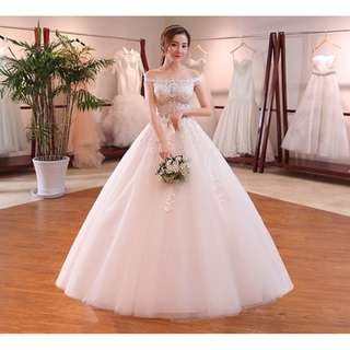 EWG18010 OFF THE SHOULDER SEXY LACE WEDDING BALL GOWN
