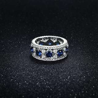 Crystal and Blue Cubic-Zirconia Ring (Size 6)