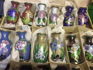 12種 6對不同花 景泰藍花瓶 掐絲琺瑯器 3寸12個 一套450 三隻120