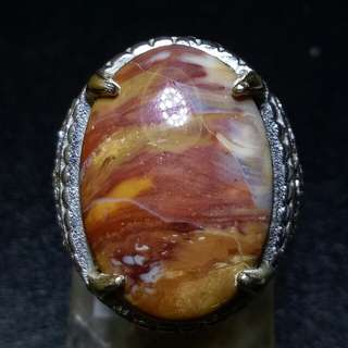 Cincin Batu Akik Pancawarna Pictorial Jasper