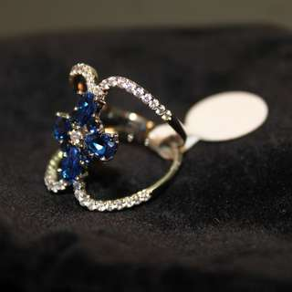 Cubic Zirconia & Blue Spinel Flower Cross Cocktail Ring (Size 9)