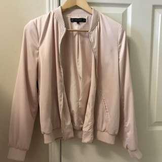 ZARA baby pink bomber jacket size S