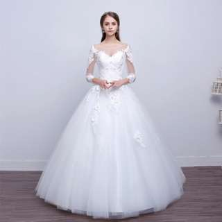 EWG18016 3/4 SLEEVE SIMPLE APPLIQUES LACE WEDDING BALL GOWN