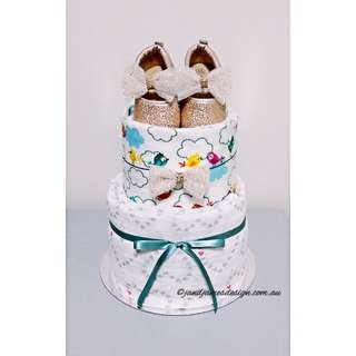 """2-Tier """"My First Sparkling Shoes"""" Nappy Cake Design"""