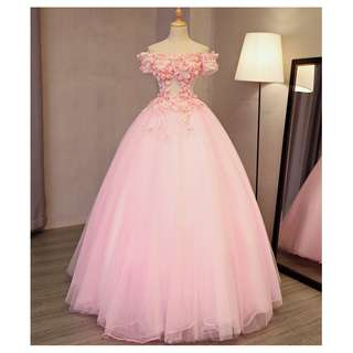 EWG18020 PINK OFF THE SHOULDER APPLIQUES FLOWERS WEDDING GOWN
