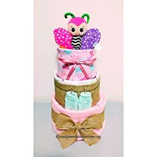 3-Tier Baby Girl Nappy Cake Design