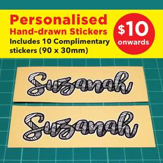 Custom / Personalised Stickers. Name will be hand-drawn and digitally-retouched. Chat with me for more details.