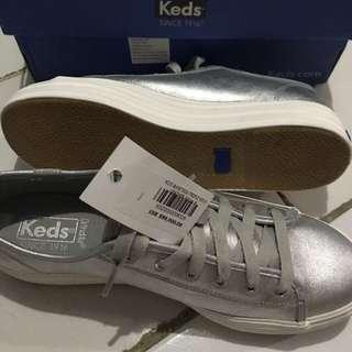 Keds silver wedges. Like new. Sekali pakai. ORIGINAL. 23,5 CM sz 71/2