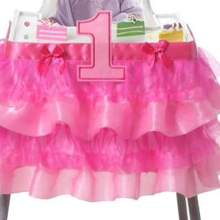 1st Birthday Highchair Tutu with number