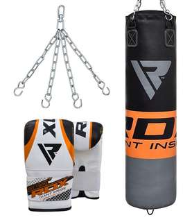 RDX F12 orange punching bag and bag gloves