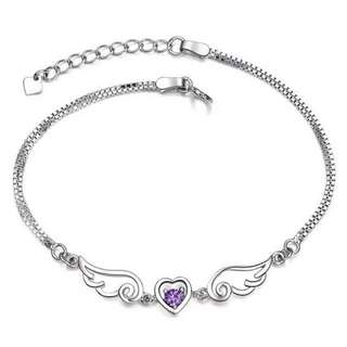 Love Angel Wings Purple Diamond Bracelet