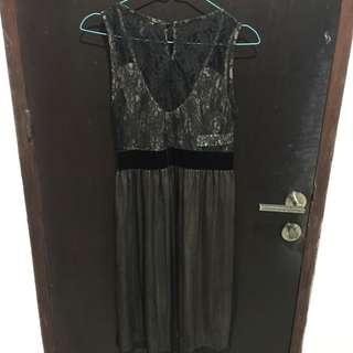 Silk lace black dress