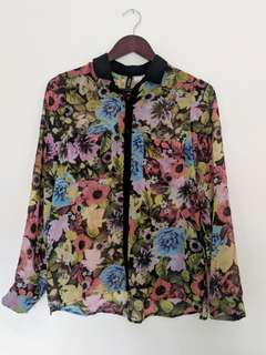 H&M floral sheer dress shirt