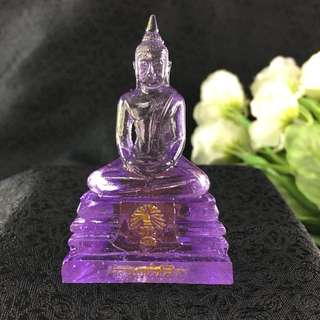 Thai Blessed PURPLE Buddha LP Sothorn Amulet BIRTHDAY SATURDAY Resin Lucky 3""