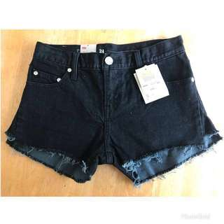 Levi's black denim shorts size XS (US 24)