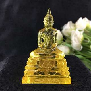 Thai Blessed YELLOW Buddha Amulet LP Sothorn MONDAY BIRTHDAY Resin Lucky Rich 3""