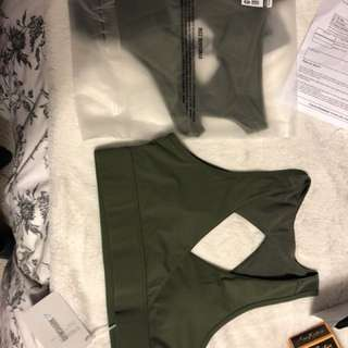 Gym Shark Olive Sports Bra (MED) Nikki B 2018