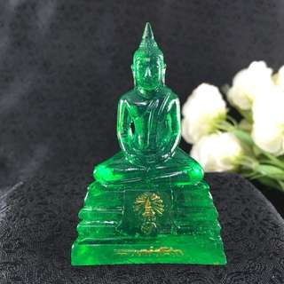Thai Blessed GREEN Buddha LP Sothorn Amulet WEDNESDAY BIRTHDAY Resin Lucky 3""