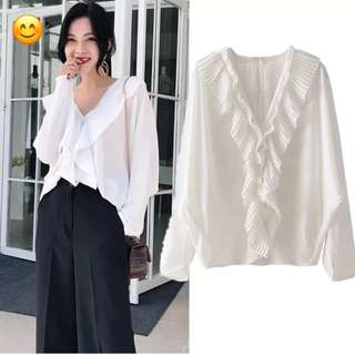 European and American style solid color V-neck pleated ruffle blouse casual shirt