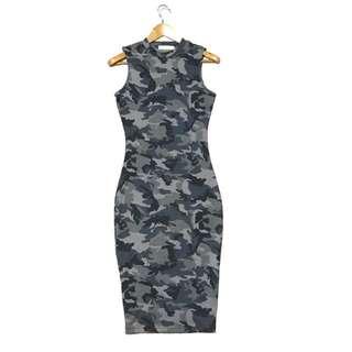 Camouflage Midi Ribbed Dress
