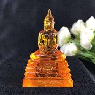 "Thai Blessed ORANGE Buddha LP Sothorn Amulet THURSDAY BIRTHDAY Resin Lucky 3"""