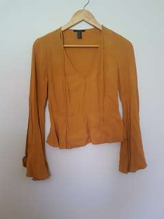 Forever 21 bell sleeve tops (mustard and white)