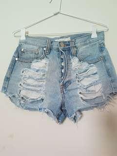 Minkpink highwaisted distressed denim shorts