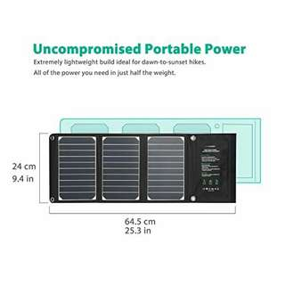 RAVPower 16W Solar Charger with Dual USB Port (Foldable, P…