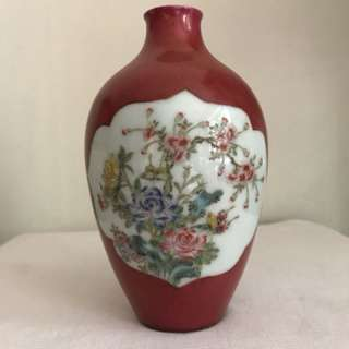 A Red Porcelain floral vase