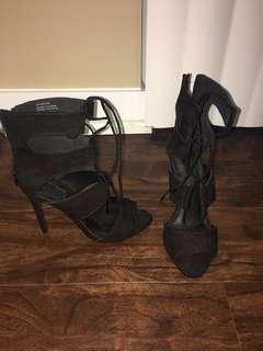 Forever 21 Black Lace Up Heels