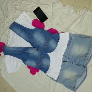 Rompi jeans + kaos v neck
